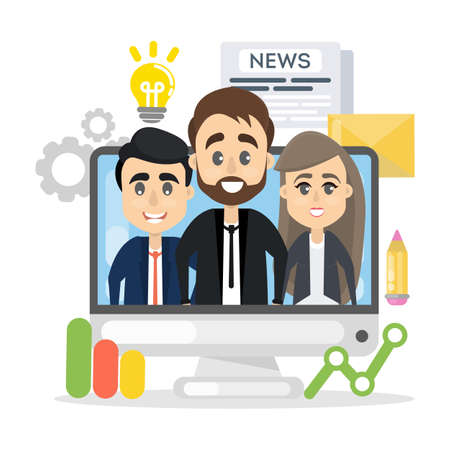 A business team showing on screen. Illustration