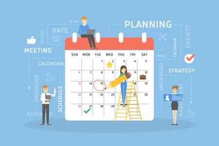 La gente planea la ilustración del calendario.