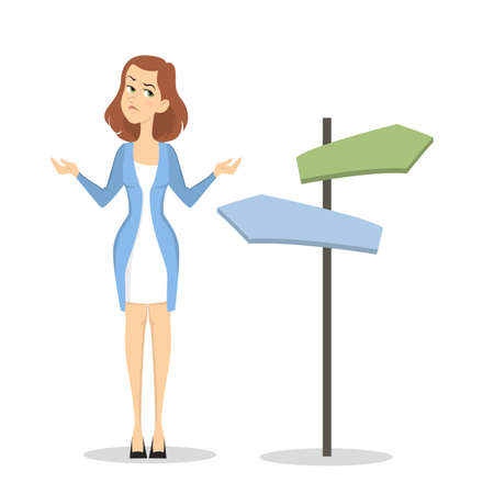 Businesswoman choosing way.