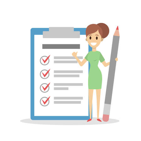 Getting things done, female with checklist.  イラスト・ベクター素材
