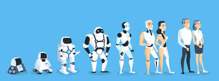 Evolution of robots illustration.