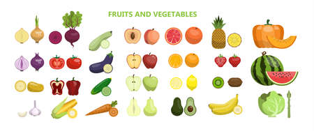 Fruits and vegetables illustration.