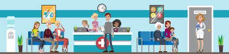 Reception at hospital illustration.