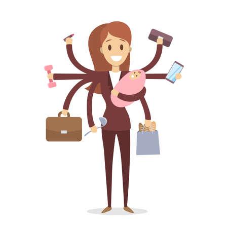 Multi tasking woman illustration.  イラスト・ベクター素材