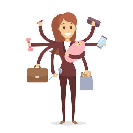 Multi tasking woman illustration. Stock Illustratie