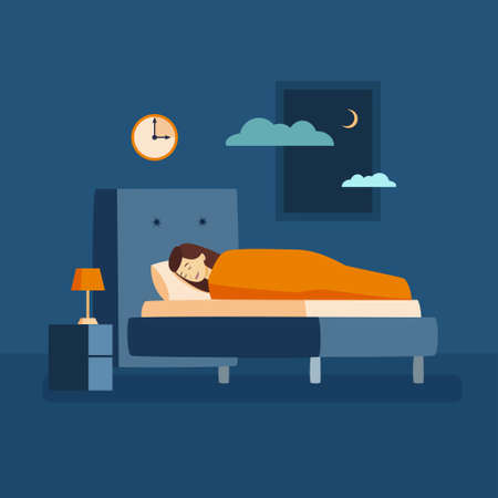 Woman sleep at night illustration.