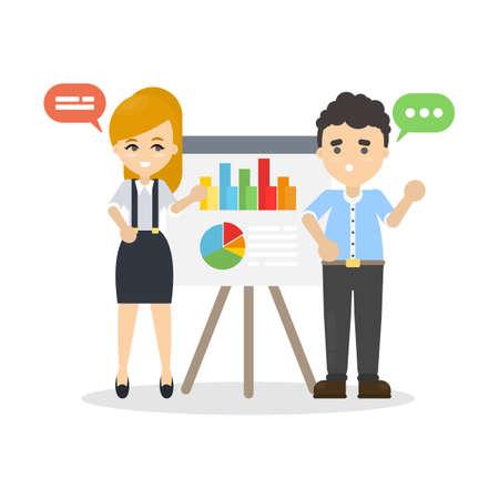 Business presentation at office illustration.