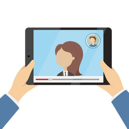 Call on tablet illustration.