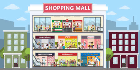 Shopping mall center illustration. Vettoriali