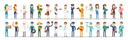Professions couple set. Stock Illustratie