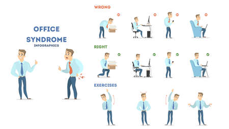 Office syndrome set illustration. Stock Illustratie
