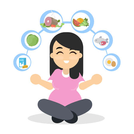 Food and pregnancy illustration.
