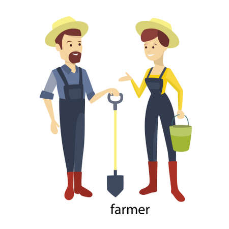 Isolated farmer couple illustration.