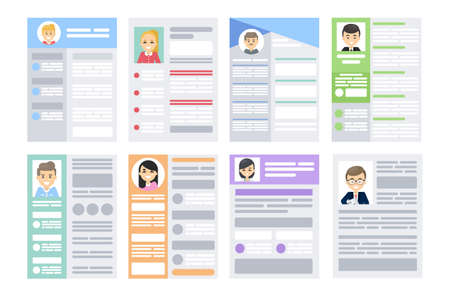 Set of resumes illustration.