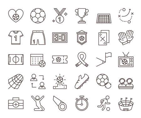 Soccer icons set. Illustration