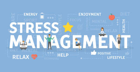 Stress management concept banner.