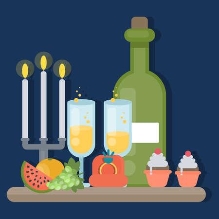 Romantic dinner illustration. Illustration