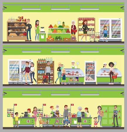 Zestaw bannerów wnętrza supermarketu. Ilustracje wektorowe