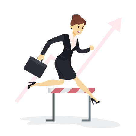 Businesswoman jumping hurdles.
