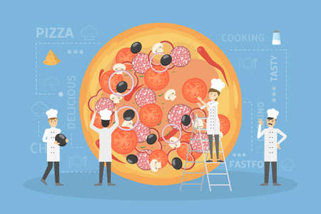 Cooking giant pizza illustration