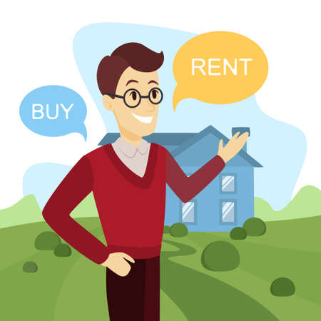 Man making a decision weather to buy or rent illustration. Illustration