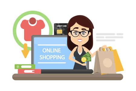 Woman online shopping.