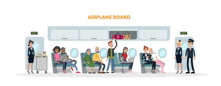 People in airplane cabin sitting and flying on white. Vectores