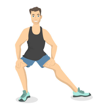 Man doing stretching. Fitness exercise on white background.