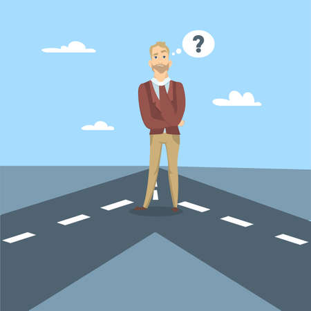 Businessman choose the right road to go.