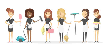 Cleaning service set. Different maids with equipment.