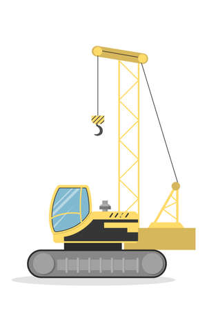 Isolated yellow crawler crane on white background.