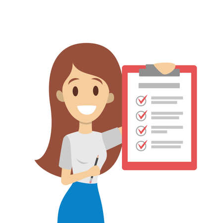 Getting things done. Woman with checked list.  イラスト・ベクター素材