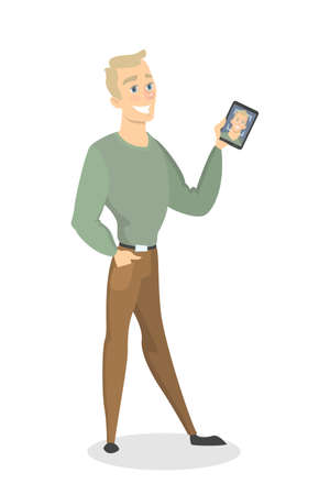 Facial recognition illustration. Man standing with smartphone.