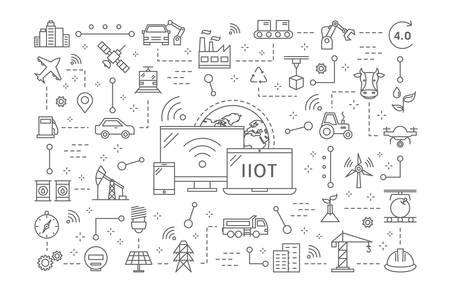 Industrial internet of things. Stock Illustratie