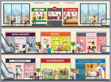 Shopping mall center. Illustration