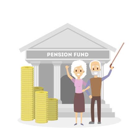 Seniors with pension fund.  イラスト・ベクター素材