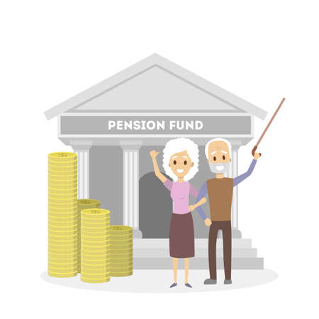 Seniors with pension fund. Illustration