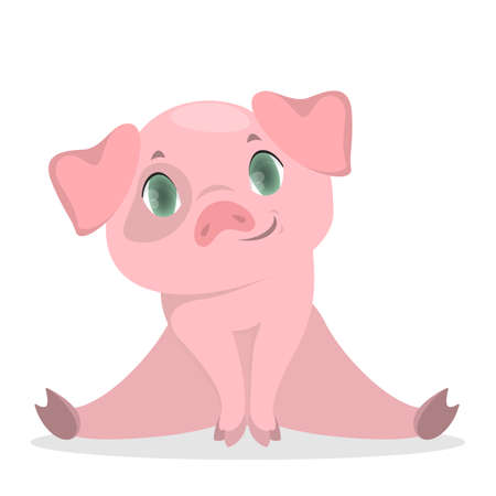Isolated baby pig. Illustration