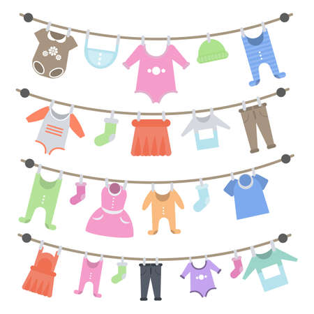 Baby clothes hanging.