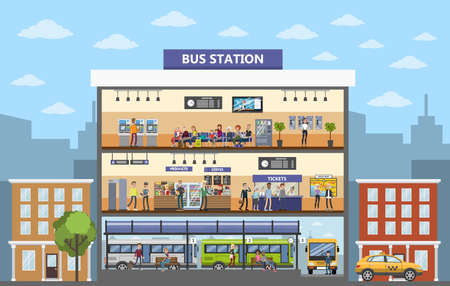 Bus station building interior in the city. Vector illustration.