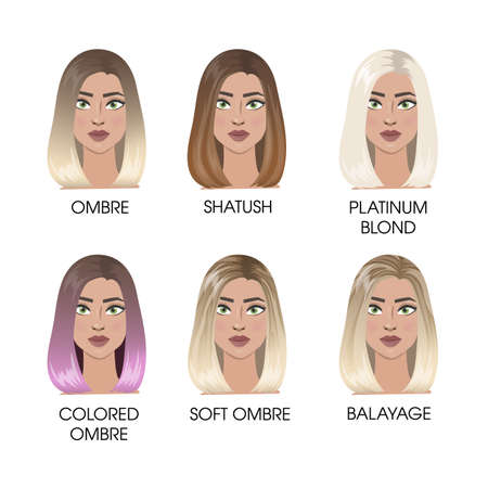 Colored hair set.