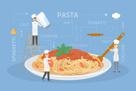 Cooking giant pasta. 일러스트