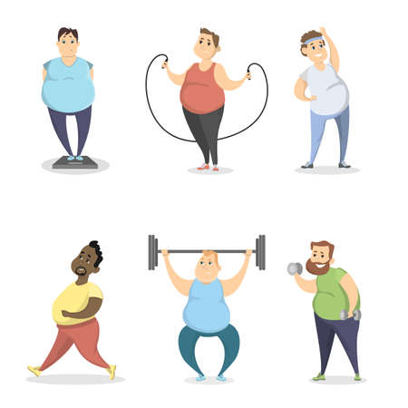 Fat people exercising. Vectores