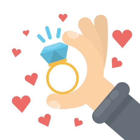 Will you marry me with ring and hearts.