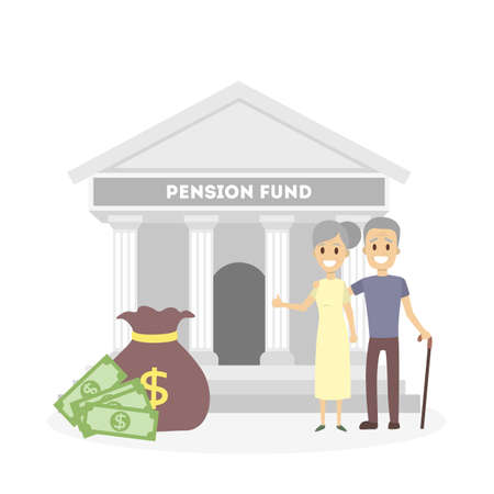 Seniors with pension fund. Stock Illustratie