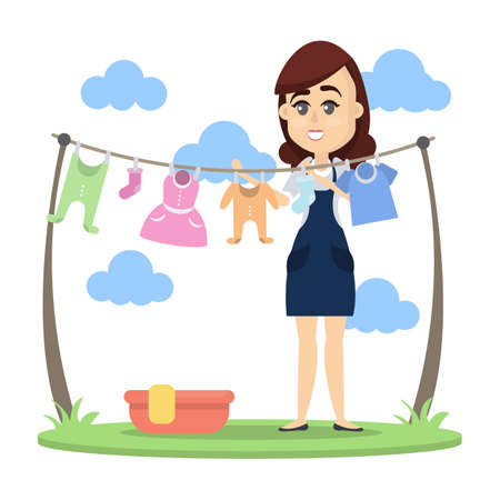 Cartoon woman drying clothes image illustration