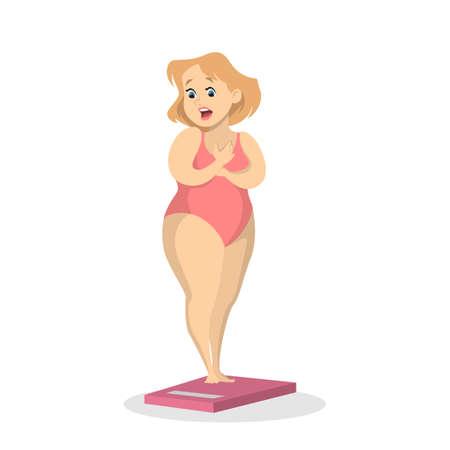 Chubby woman weighting image illustration Illustration