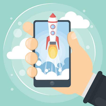 Rocket image on mobile phone  イラスト・ベクター素材