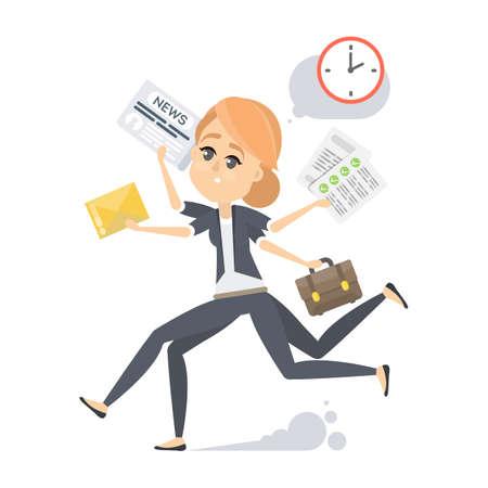 Businesswoman running errands illustration. Ilustração