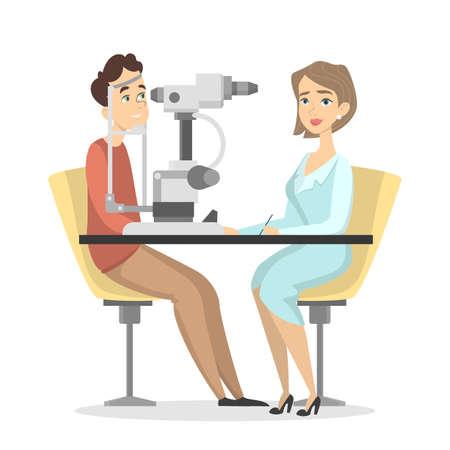 Checking the eyesight image illustration